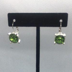 4 for $12: Green Silver Tone Earrings